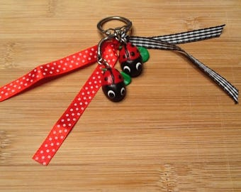 Ladybug Ribbon and polymer clay keychain