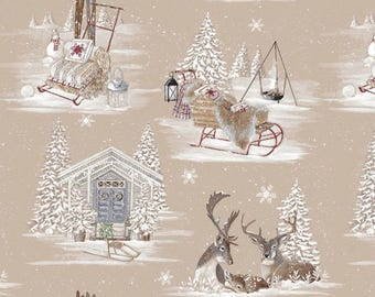 Fabric, Christmas, 280cm wide, reindeer, snow, christmas, mountain, snow,