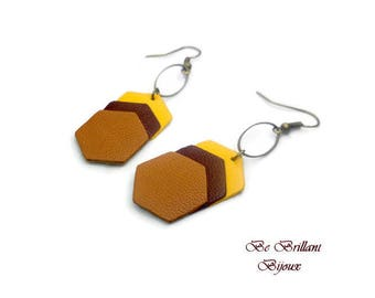Earrings leather hexagons, mustard yellow, Brown, camel