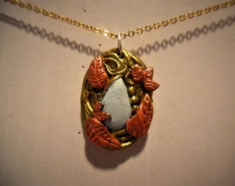 Elven necklace red and gold