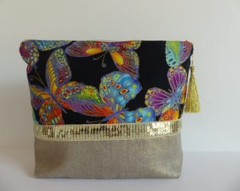 Large toiletry bag, linen, cotton and gold Japanese