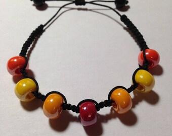 Shamballa adjustable bracelet - Orange, yellow and red beads