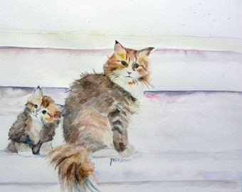 watercolor madame the cat and her kitten