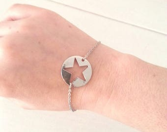Star - silver chain bracelet and stainless steel