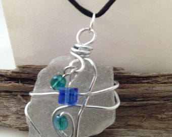 White Frosted wire Wrapped Natural Sea-glass Necklace