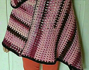 asymmetrical cape poncho handmade crocheted shades of pink/plum