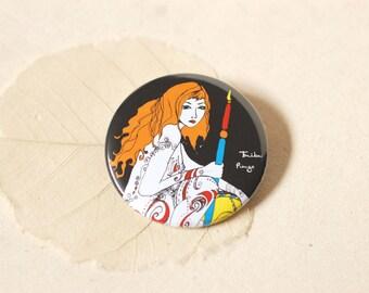 Illustrated round Pocket mirror, the redhead