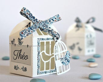 "discontinued * 25 boxes for baptism favors ""cage and birds in liberty Eloise blue orange"""