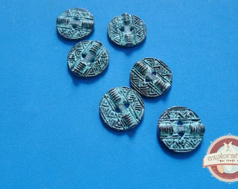 6 buttons round 13mm verdigris patina native