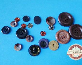 19 round buttons black transparent amber rhinestone Brown taupe