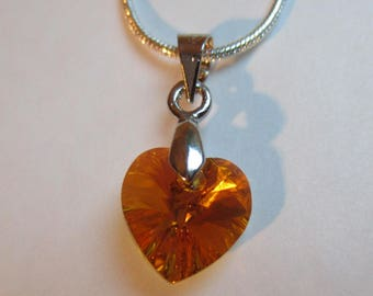 ♥ Lovely ♥ Topaz AB 10.3 x 10 mm Swarovski Crystal heart pendant