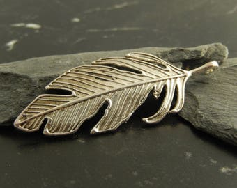 1 silver feather pendant charm