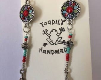 Boho western drop earrings with silver and turquoise,southwestern earrings