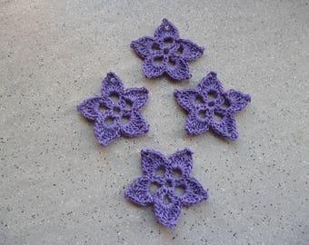 4 flowers crocheted in cotton purple stars