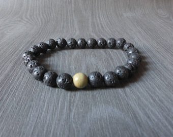 lava stone and Jasper stone - B65 men bracelet