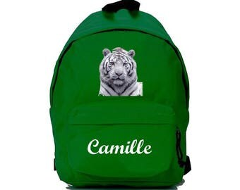White Tiger green backpack personalized with name