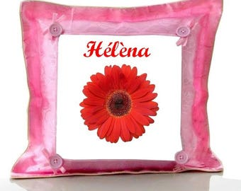 Cushion pink flower personalized with name