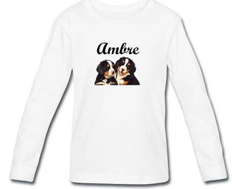 Girl long sleeve Bernese personalized with name t-shirt