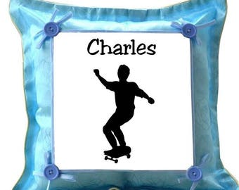 Blue cushion Skatboard personalized with name