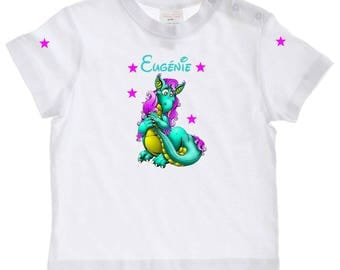 baby little dragon personalised with name t-shirt