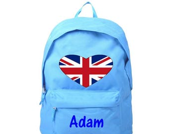 bag has London blue back personalized with name