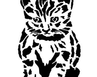 """stencil P.V.C 200 Micron """"kitten"""" reusable 17 x 10 cms (possible other sizes)"""