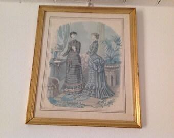 Framed fashion print, frame wood gold