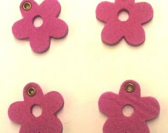 4 felt T24 pink flowers