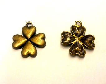 Set of 10 charms bronze metal T34 - 4 leaf clovers