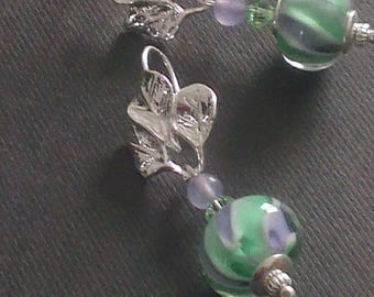 Swirls of lilac - peridot - assorted color jade stone and spinning top