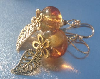 "Earrings ""Spun glass amber and gold"""