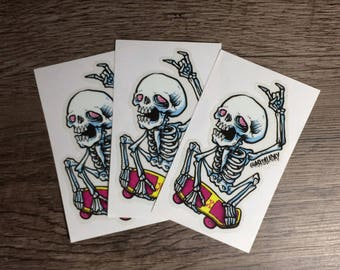 Skeleton skater Stickers (set of 3)