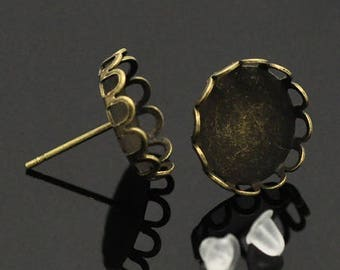 """2 pairs + stops deco bronze Stud Earrings """"lace"""" to 12mm cabochon"""