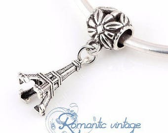 2 antique silver Eiffel Tower charm and large hole beads