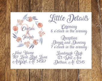 Purple and Coral Watercolor Wedding Detail Card