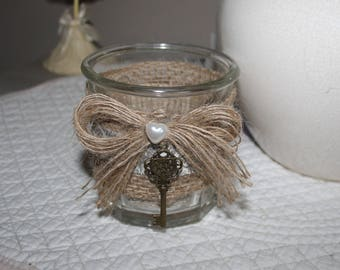 Candle made from an old jam jar