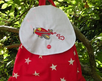 Backpack for boy airplane pattern