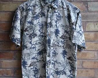 Vintage splatter print short sleeve shirt