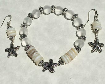 Sea glass & shell bracelet/earrings set