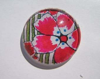 Cabochon 20 mm round domed with his image of red flowers