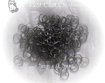 "100 rings 7 MM x 0.7 MM gray ""HEMATITE"" black METAL safety chain carabiners * U15"