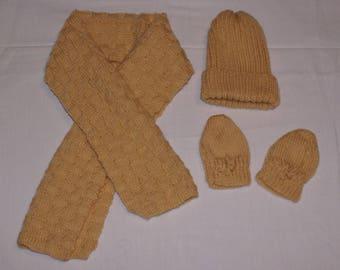 set hat, scarf and fingerless gloves brown orange