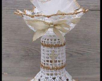 """10 candy dish in the shape """"Chalice"""" communion white and gold and Gold Ribbon"""