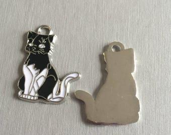 Cat: black and white enamel