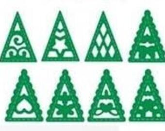 Cut scrapbooking set of 8 mini Christmas trees