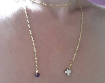 Gold with amethyst and Pearl Lariat Necklace