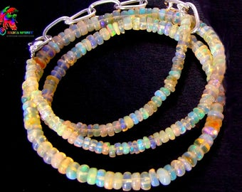 Necklace 41 cm in natural opals Fire Ethiopian Welo beads wheels Multi-Feux 2.5 mm to 5 mm to ∅