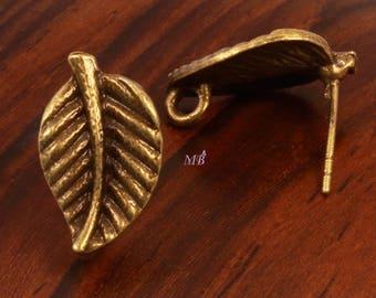 12 leaf earring backings has bronze 17x10mm nail