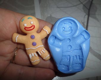 Mr gingerbread 5cm new! mold for polymer clay