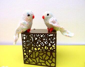 Couple of lovebirds, small parakeets amigurumi